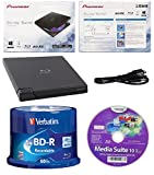 Pioneer 6x BDR-XD05B Ultra Lightweight External Blu-ray BDXL Burner, Cyberlink Software and USB Cable Bundle with 50pk Recordable BD-R Verbatim 25GB 6X with Branded Surface