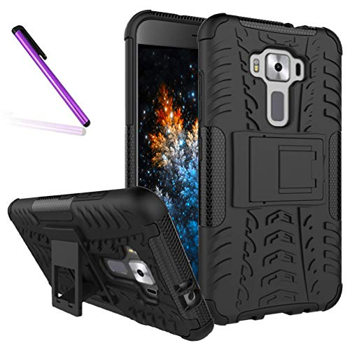 ZenFone 3 ZE520KL Case, Tyre Pattern Design Heavy Duty Tough Armor Extreme Protection Case with Kickstand Shock Absorbing Detachable 2 in 1 Case Cover for ASUS ZenFone 3 ZE520KL. Hyun Black