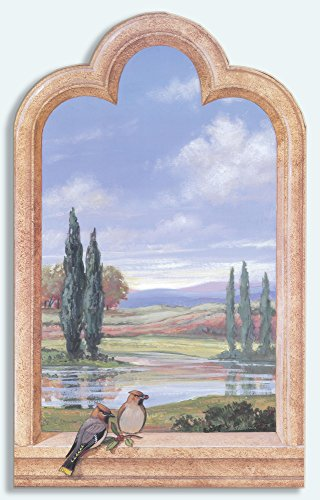 (Stupell Home Décor Decorative Faux Window Scene, Birds And Cypress Trees, 22 x 0.5 x 33, Proudly Made in USA)