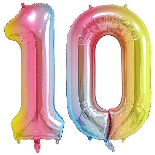 Tellpet Number 10 Balloons, Rainbow, 40 Inch]()