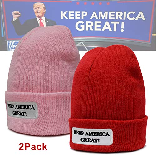 2 Pcs Donald Trump 2020 Vote Anti Hat Cap,MAGA Trump Visor Merchandise Baseball Hat,Keep American Great - President Trump Hat Fancy Dress re-Elect Mother's Day Winter Knit hat 222,1Re -