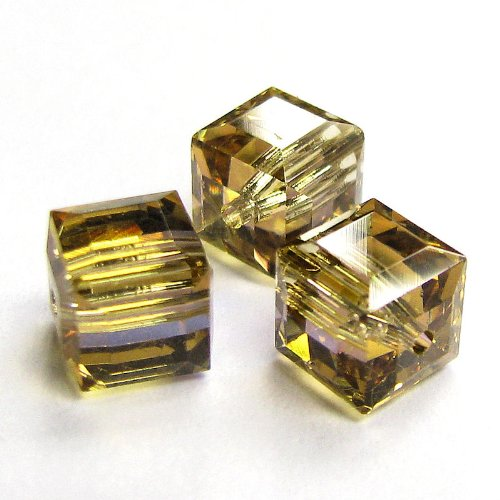 4 pcs Swarovski Crystal 5601 Cube Bead Spacer Light Colorado Topaz AB 6mm / Findings / Crystallized (Coating 5601 Cube)