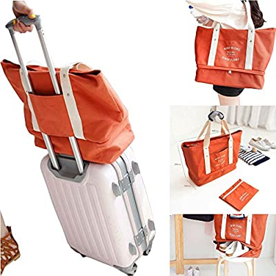 2c289001fb new Women Canvas Carry On Luggage Travel Totes Duffel Bag with Shoes  Compartment Travel Shoulder Bag