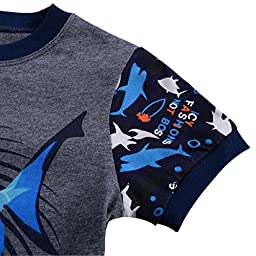 Babypajama Little Boys\' Shark Short Pajama Set 2 Piece T-Shirt & Pants Size 6 Years