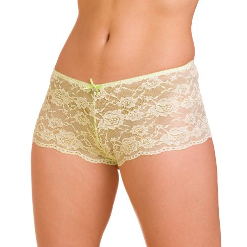 Camille Womens Ladies Underwear Lime Green Lace Bow French Boxer shorts Briefs 4-18 12/14 GREEN