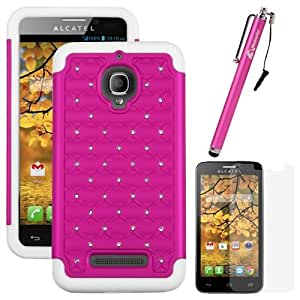 MINITURTLE, 2 in 1 Hybrid Dual Layer Rhinestone Studded Hard Protector Phone Case Cover, LCD Screen Protector Film, and Stylus Pen for Android Smartphone Alcatel One Touch Fierce 7024W /T Mobile /Metro PCS (Pink / White)