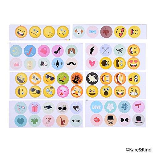 Emoji Wine Glass Charms (63x) Printed and Writable Tags