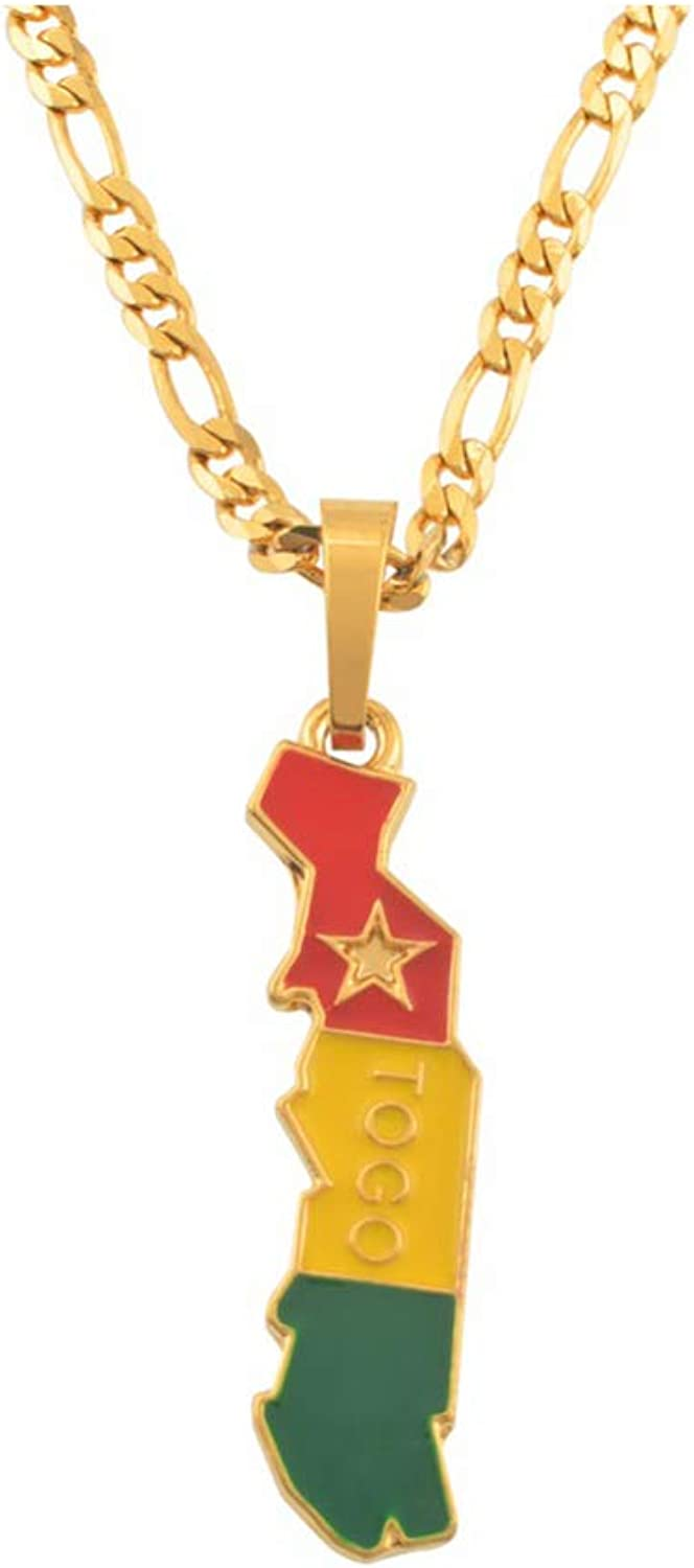 Elegant-Store-A Flag and Map of Togolaise Pendant Necklaces for Women Men Togo Maps Jewelry Togolese Itmes