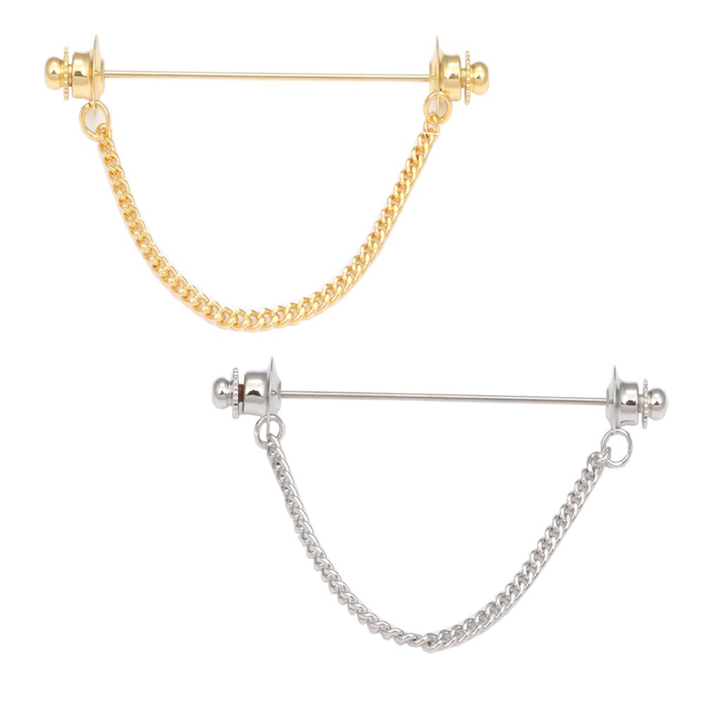 Dannyshi Men's Gold Silver Tie Pins Chain Collar (2PC gold and silver)