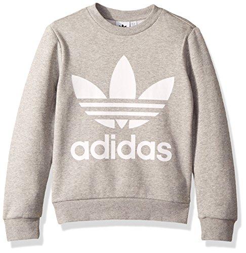 adidas Originals Boys' Little Trefoil Crew, Medium Grey Heather/White, XS ()