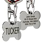 Personalized, Engraved Dog ID Tag comes with our Quick Clip ID Connector. Bone Shape Pet ID Tag Includes up to 8 Lines of Text – Engraved Front & Back. Stainless Steel.