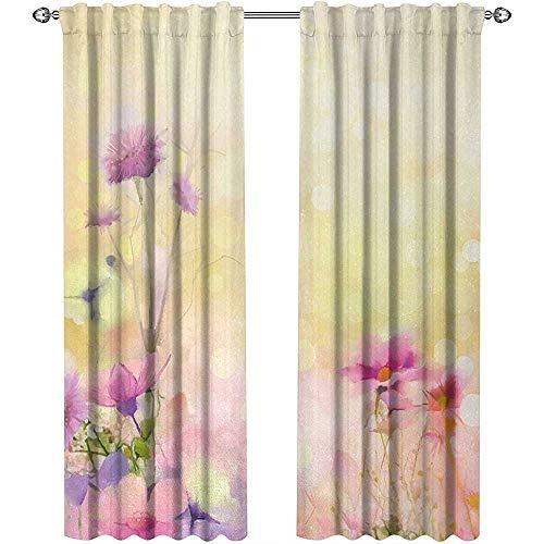 Returiy Flower, Kitchen Curtains and Valances Set, Vintage Soft Colored Feminine Magnolia Blooms Whorls Motif Artwork Print, Curtains Nursery, W72 x L96 Inch, Pink Light Yellow