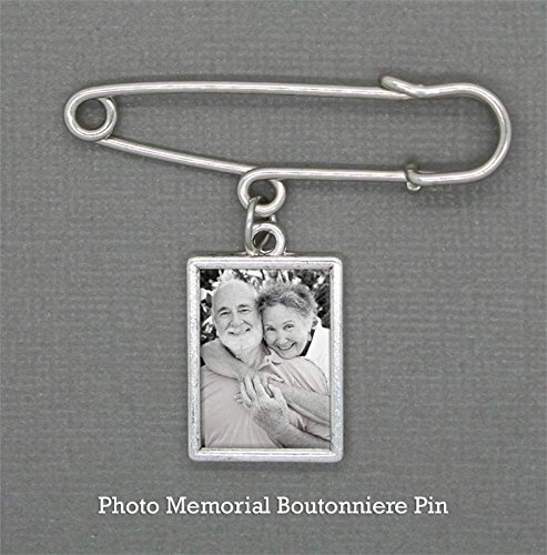 Pin Charm - Wedding Boutonniere Memorial Photo Charm w/ Pin Set For Groom Father Of the Bride Groomsmen