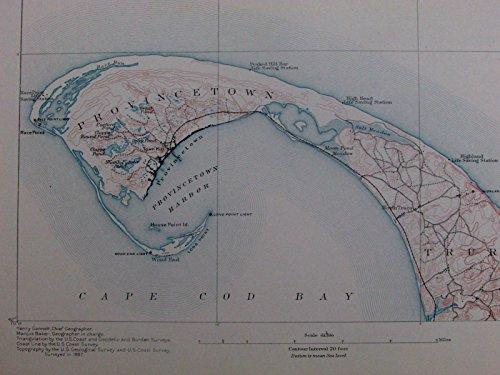 Provincetown Harbor Cape Cod Long Point Massachusetts 1890 old U.S. coastal map