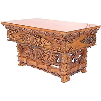 This item DharmaObjects Solid Wood Hand Carved Tibetan Buddhist Prayer  Shrine Altar Meditation Table (Small, Dark)
