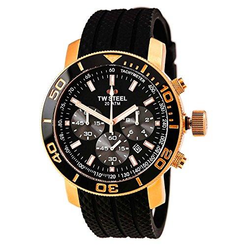 TW Steel Grandeur Black Dial 48 mm Rose Gold-tone Mens Watch TW703