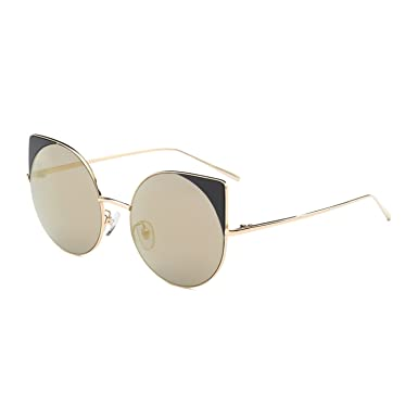 3d76175a8c30a Image Unavailable. Image not available for. Color  Solme Oversized Cat Eye  Sunglasses Women Round Mirror Gold ...