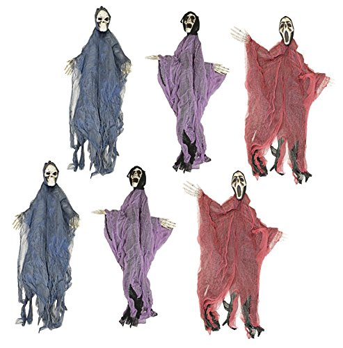 Set of 6 Hanging Hooded Skeletons With Bendable Movable Arms! Perfect for Your Next Halloween Gathering! (Dollar Tree Halloween Decorations 2017)