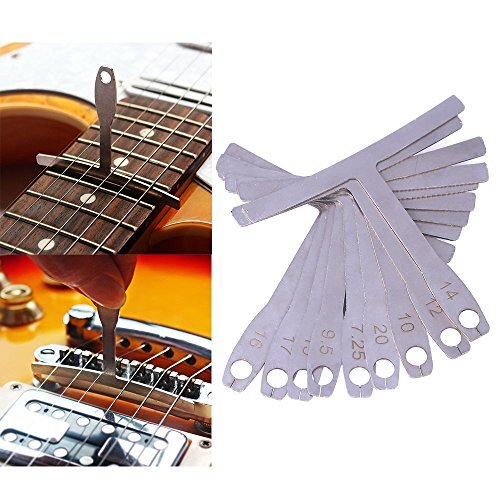 ZKer 9Pcs/set Understring Radius Gauge, Metal Setup Luthier Tools Understring Radius Gauge For Guitar and Bass Mandolin String Bridge Saddles Adjustment - Luthiers Guitar Bass