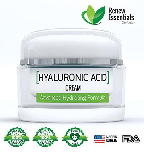 Acide Hyaluronique Crème Hydratant | Anti Aging Cream | visage et la peau Hydratant Formule | Lisse et élimine les rides | hydrate la peau pour augmenter l'élasticité pour un look élégant | sans gluten et sans paraben | Renouveler Essentials Collection |