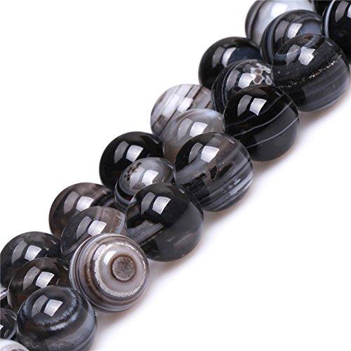 Dzi Sardonyx Onyx Agate Beads for Jewelry Making Natural Gemstone Semi Precious 12mm Round Black 15