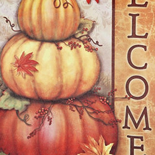 bazaar 30x45cm halloween polyester pumpkin leaves welcome flag garden holiday decoration big bazaar