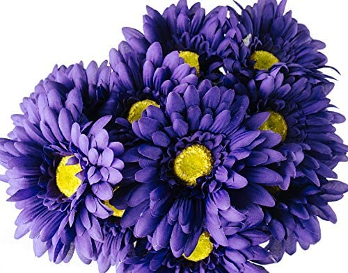 CraftMore Blue Colored Gerbera Daisy Stems 14 Inch Set of 12