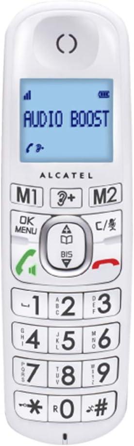 Alcatel XL385 - Teléfono (Teléfono DECT, Terminal inalámbrico, Altavoz, 50 entradas, Identificador de Llamadas, Blanco)