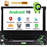 "Single Din Car Stereo Bluetooth Flip Out Touch Screen 1 Din Radio Android 10 GPS Navigation 7"" 1GB+32GB DVD Player Detachable Indash Head Unit Support Screen Mirror Link Backup Camera View EQ Mode"