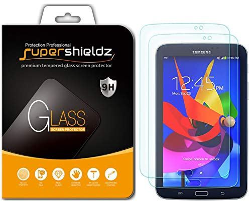 [2-Pack] Supershieldz for Samsung Galaxy Tab 3 7.0 / Kids Edition Screen Protector, [Tempered Glass] Anti-Scratch, Anti-Fingerprint, Bubble Free, Lifetime Replacement Warranty