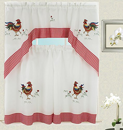 Rooster Kitchen Curtain with Swag and Tier Set 36 inch wi...