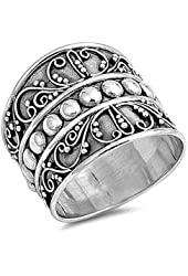 Bali Bead Wide Fashion Ring New .925 Sterling Silver Thin Band Sizes 5-12
