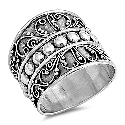 Bali Bead Wide Fashion Ring New .925 Sterling Silver Thin Band Size 9