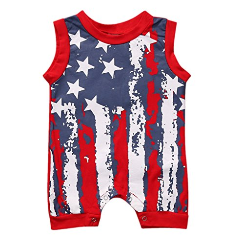 Fineser Infant Baby Boy Short Sleeve 4th Of July Star Stripe Flag Romper Jumpsuit Bodysuit Outfits