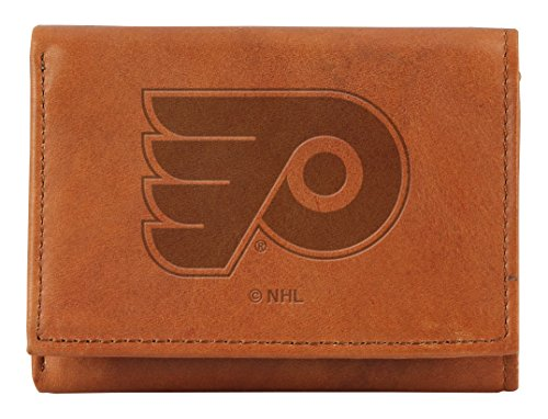 NHL Philadelphia Flyers Embossed Genuine Leather Trifold Wallet (Rico Leather Philadelphia Flyers Wallet)
