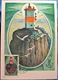 Lot of 2 Old, Vintage, Retro, Collectible Unused USSR Postcards with Lighthouse Russian Stamps.