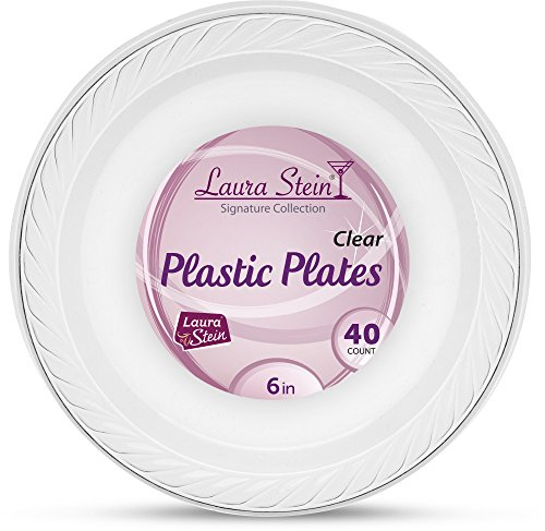 [40 Count -6 Inch Plates] Laura Stein Premium Heavy Weight Crystal Clear Disposable Plastic Dessert Size Plate, Great For Wedding, Event, Parties, Catering, Buffets, 1 Pack