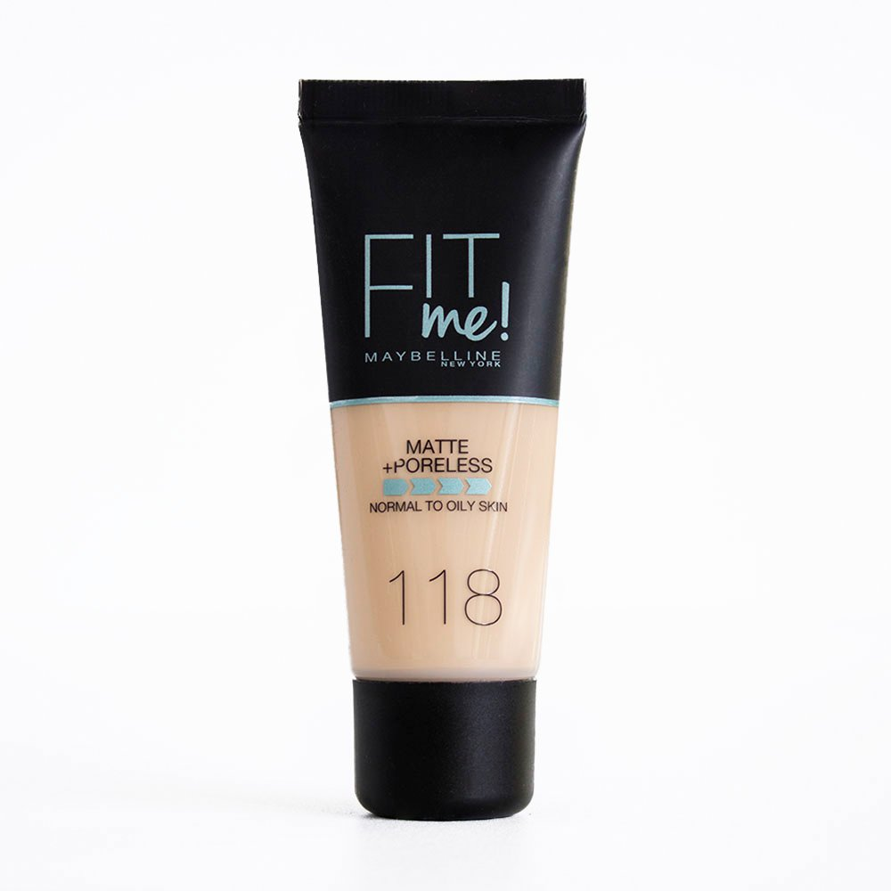 Maybelline Fit me! Matte& Poreless Make-up Nr. 230 Natural Buff, flüssiges Make-up, passt sich dem Hautton an, feuchtigkeitsspendend, mattierend, leichte bis mittlere Deckkraft, 30 ml flüssiges Make-up Maybelline New York B27392