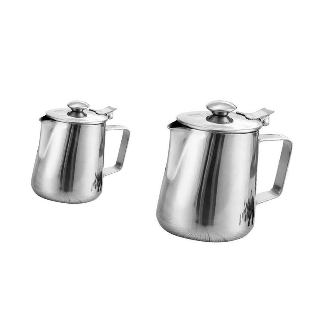 MagiDeal Stainless Steel Coffee Pitcher Craft Milk Frothing Jug With Lid 350ml+2L