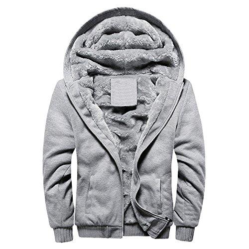 iTLOTL Mens Hoodie Winter Warm Fleece Zipper Sweater Jacket Outwear Coat Tops Blouses … (X-Gray,XXXXL) - Dog Coats Uk