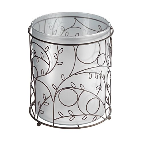mDesign Decorative Round Small Trash Can Wastebasket, Garbage Container Bin for Bathrooms, Powder Rooms, Kitchens, Home Offices - Clear Plastic, Steel Wire frame in bronze finish