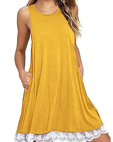 Dress Sun Sleeveless Coolred Hem Women Yellow Crewneck Stitch Lace Pocket Line Style Baggy wxBPRxXvq