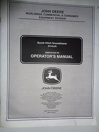 John Deere 54-Inch Quick-Hitch Snowblower Operators Owners Manual OMM161542 H9