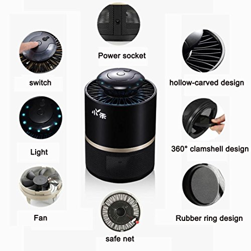 Stheanoo Electronic Mosquito Non-Chemical, Non-toxic, Non-polluted Fly Bug Insect Killer Best for Home, Bedroom, Living Room Pest Control (Black) by Stheanoo Zapper (Image #1)