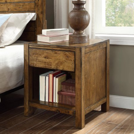 Bryant Collection Solid Wood Nightstand in Rustic Brown Finish from Better Homes and Gardens