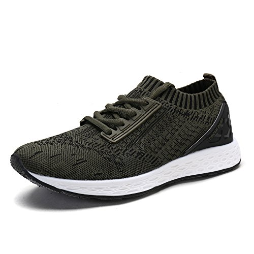 DREAM PAIRS Men's 170426M Army Green Black Fashion Running Shoes Size 12 M (Grn Mens Sneakers)