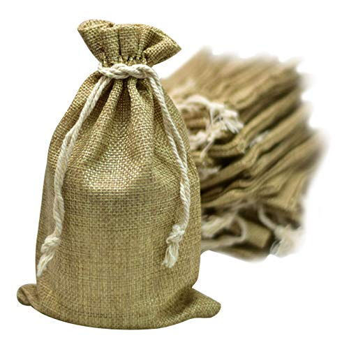 50 Burlap Bags with Drawstring, 5x7 Inch Gift Bag Bulk Pack - Wedding Party Favors, Jewelry and Treat Pouches