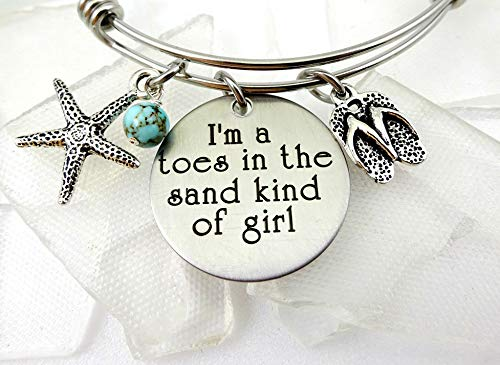 I'm A Toes In the Sand Kind of Girl Engraved Bangle ()