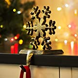 LITTLEGRASS Christmas Decorations Christmas Stocking Holder Metal Christmas Stocking Hangers for Fireplace Mantle Free Standing Deer Snowman Sata Snowflake Indoors Vintage Decorations (snowflake)