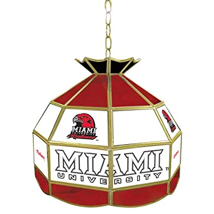 Image of Billiard Lighting NCAA Miami University, Ohio 16-Inch Stained Glass Tiffany Lamp